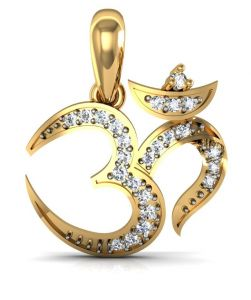 kalazone,flora,vipul,avsar,lime Pendants (Imitation) - Avsar Real Gold and Diamond Om Shape Pendant  AVP033