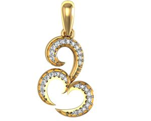 Avsar Real Gold And Diamond Om Shape Pendant Avp060