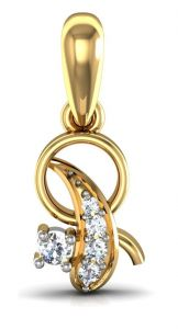 avsar,hoop Pendants (Imitation) - Avsar Real Gold and Diamond Panaji Pendant  AVP063
