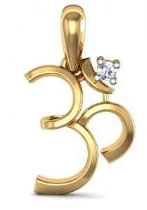 Avsar Real Gold And Diamond Om Pendant Avp066