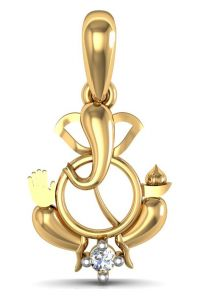 avsar,hoop,jagdamba Pendants (Imitation) - Avsar Real Gold and Diamond Shree Ganesh  Pendant  AVP067