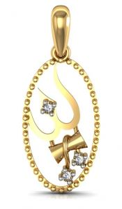 Kiara,Jpearls,Mahi,Flora,Surat Diamonds,Avsar,Gili,Oviya Women's Clothing - Avsar Real Gold and Diamond Om Pendant  AVP068