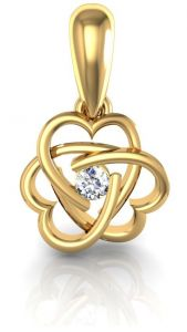 Ivy,Cloe,Port,Asmi,Tng,Ag,Avsar Women's Clothing - Avsar Real Gold and Diamond Heart Pendant  AVP070