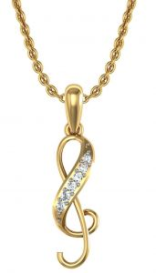 Avsar Real Gold And Swarovski Stone Kalyan Pendant Avp073yb