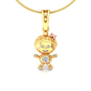 Avsar Real Gold And Diamond Swara Pendant Avp161a