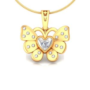 Avsar Real Gold And Diamond Pallavi Pendant Avp166a