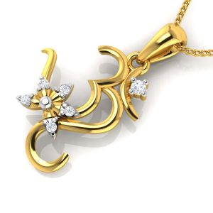 Avsar Real Gold Om Shape God Pendant ( Code - Avp205yb )