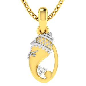 Gold Pendant Sets - Avsar Real Gold GANESHA Shape God Pendant ( Code - AVP214YB )