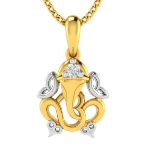 Avsar Real Gold And Diamond Ganesha Shape God Pendant ( Code - Avp230ya )