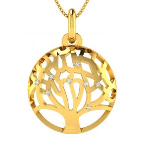 Avsar Real Gold And Diamond 18k Pendant (code - Avp507a)