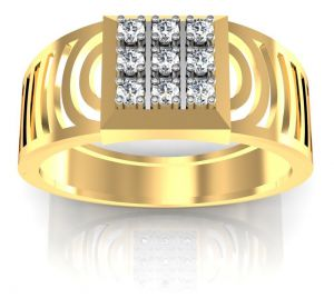 Vipul,Surat Tex,Avsar,Kaamastra,Fasense,Ag,See More,Parineeta,Sinina Gold Jewellery - Avsar Real Gold and Diamond Salman Men Ring AVR001