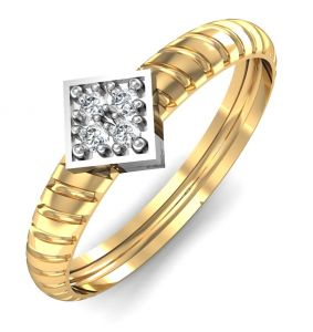 Avsar Real Gold And Swarovski Stone Ketaki Ring Avr041yb