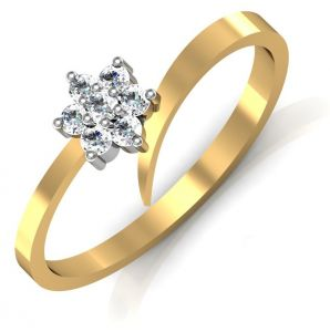 Avsar Real Gold And Swarovski Stone Kokan Ring Avr062yb