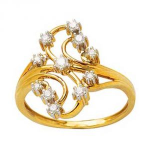 Gold Rings - Avsar Real Gold and Diamond Anjali Ring ( Code - AVR128N )