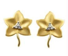 Bling! Diamond Leaf Earrings Bge028