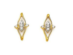 Bling! Real Gold And Diamond Fancy Style Earring