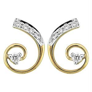 Port,Avsar Diamond Jewellery - Bling! Real Gold and Diamond Curve Style Earring