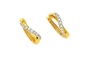 Bling! Real Gold And Diamond Hoop Style Earring