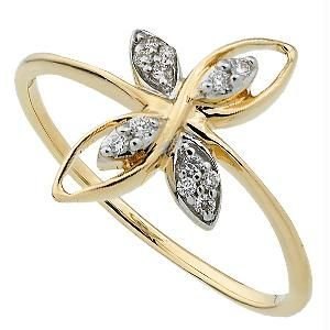 Bling! Real Gold And Diamond Beautiful Flower Ring