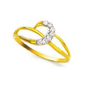 Slim Half Moon Shape Diamond Ring Bgr064