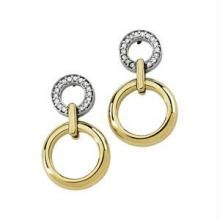 la intimo,shonaya,avsar,estoss Gold Earrings - Bold American Diamond  Two Round Dangle Earring