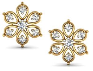 Kiara,Surat Tex,Tng,Avsar,Shonaya,Gili,Estoss,Asmi,Ag Women's Clothing - Bling!Real Gold and Diamonds Janvhi Earrings BGE003