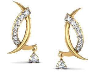 Hoop,Shonaya,Soie,Vipul,Kalazone,La Intimo,Sangini,Gili,Pick Pocket,The Jewelbox,Avsar Women's Clothing - Bling!Real Gold and Diamonds Gujrat Earrings BGE006