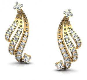Avsar,Unimod,Lime,Clovia,Kalazone,Ag,Jpearls,Sangini,Kaara,Asmi Women's Clothing - Bling!Real Gold and Diamonds Kolkatta Earrings BGE011