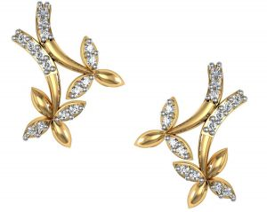 Avsar,Ag,Triveni,Flora,Cloe,Oviya Diamond Jewellery - Avsar Real Gold and Diamond Kajol Earring BGE055A