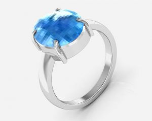 Silver Rings - Kiara Jewellery Certified Blue Topaz 9.3 cts or 10.25 ratti Blue Topaz Ring