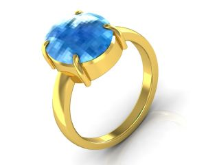 Kiara Jewellery Certified Blue Topaz 8.3 Cts Or 9.25 Ratti Blue Topaz Ring