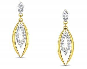 La Intimo,Avsar Women's Clothing - Avsar Real Gold and Swarovski Stone Kajal Earring BOE009A