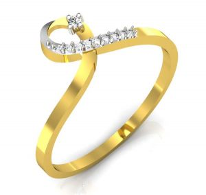 Avsar Real Gold And Swarovski Stone Swara Ring Bor006a