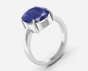 Kiara Jewellery Certified Neelam 3.0 Cts Or 3.25 Ratti Blue Sapphire Ring