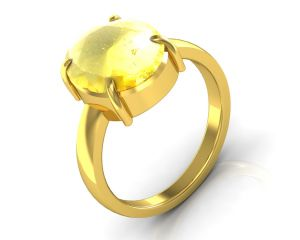 Kiara Jewellery Certified Sunehla 5.5 Cts Or 6.25 Ratti Citrine Ring