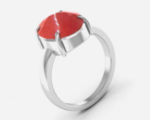 Kiara Jewellery Certified Moonga 3.0 Cts Or 3.25 Ratti Coral Moonga Ring