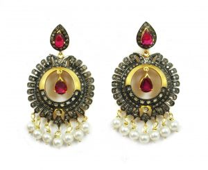 15.55 Ct Real Diamond Ruby Pearl Victorian Earring