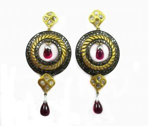 Lime,Surat Tex,Soie,Avsar Women's Clothing - 14.27CT REAL DIAMOND CREATED RUBY VICTORIAN EARRIN