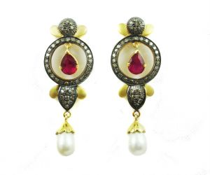 9.86 Ct Real Diamond Ruby Pearl Victorian Earring