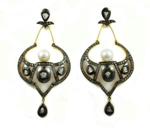 10.18 Ct Real Diamond And Pearl Victorian Earring