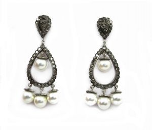 16.60 Ct Real Diamond And Pearl Victorian Earring