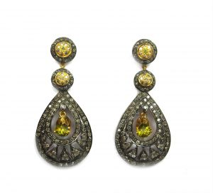 3.28 Ct Real Diamond And Citrine Victorian Earring