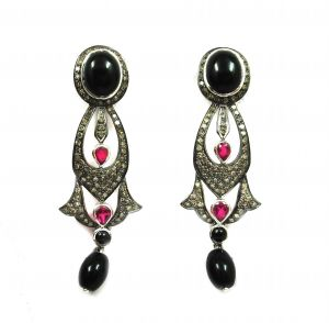 17.05 Ct Real Diamond Black Onyx Victorian Earring
