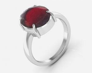 Kiara Jewellery Certified Hessonite 7.5 Cts Or 8.25 Ratti Garnet Ring