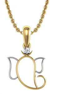 Avsar Real Gold And Cubic Zirconia Stone Ganesh Shape Pendant( Code - God14ybn )