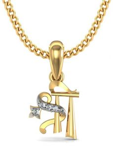 Avsar Real Gold And Cubic Zirconia Stone Shree Shape Pendant( Code - God1ybn )