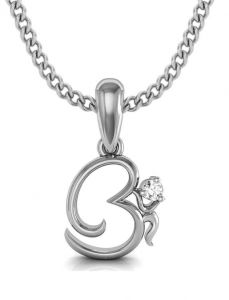 Avsar Real Gold And Cubic Zirconia Stone Om Shape Pendant( Code - God3wbn )