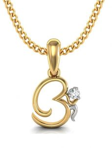 Avsar Real Gold And Cubic Zirconia Stone Om Shape Pendant( Code - God3ybn )