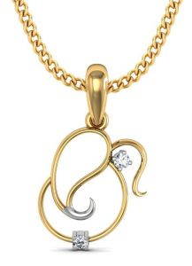 Avsar Real Gold And Cubic Zirconia Stone Ganesh Shape Pendant( Code - God4ybn )