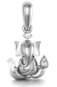 Avsar Real Gold And Diamond Ganapati Shape Pendant ( Code - God5wn )